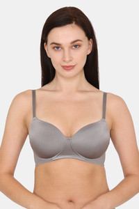 Buy Zivame Soft n Sheen Padded Non Wired 3/4th Coverage T-Shirt Bra - Frost Grey