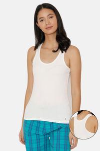 Buy Zalza Teens Organic Cotton No Dig Strap Flat Seams Racer Back Top - White