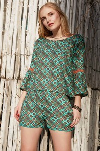 Buy Zephyr Abstract Printed Casual Shorts- Teal Carpet
