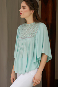 Buy Zephyr Flared Sleeve Top With Lace Detail- Light Blue