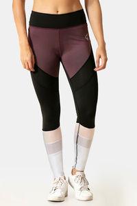 Buy Zelocity Nouveau Shine Legging-Black N Mauve