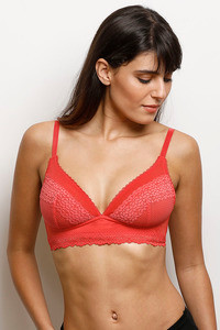 Buy Zivame Moroccan Lace Double Layered Non Wired 3/4th Coverage Lace Bra-Bittersweet