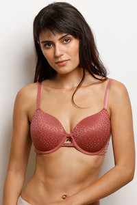 Buy Zivame Moroccan Lace Padded Wired 3/4th Coverage Lace Bra - Dusty Cedar