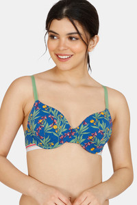 Buy Zivame Tree Of Life Printed Padded Wired 3/4th Coverage T-Shirt Bra - Classic Blue