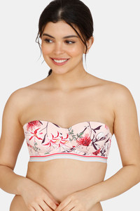 Buy Zivame Tree Of Life Printed Padded High Wired 3/4th Coverage Strapless Bra - Rose Quartz