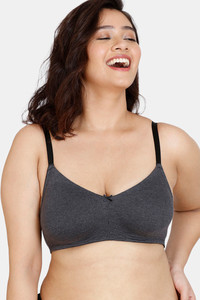 Buy Zivame Beautiful Basics Double Layered Non-Wired 3/4Th Coverage Super Support Bra - Anthracite
