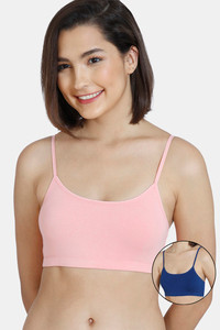 Buy Zivame GRL Double Layered Non-Wired Full Coverage Bra Pack Of 2- Pink Navy