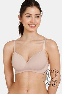Buy Zivame Glitter Straps Padded Non Wired 3/4th Coverage T-Shirt Bra-Skin