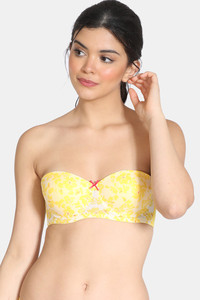 Buy Zivame Rhapsody Of Blue Padded High Wired 3/4th Coverage Strapless Bra - Minion Yellow