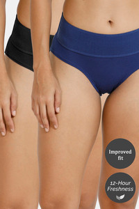 Buy Zivame (Pack of 2) Tummy Tucker Hipster High Rise Anti-Microbial Panty - Black Blue