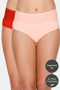 Buy Zivame Tummy Tucker Hipster High Rise Anti-Microbial Panty (Pack of 2) - Red Peach