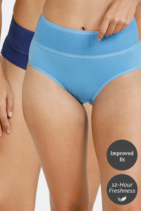 Buy Zivame Tummy Tucker Hipster High Rise Anti-Microbial Panty (Pack of 2) - Blue Pacific