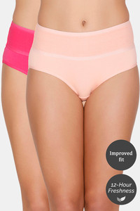 Buy Zivame (Pack of 2) Tummy Tucker Hipster High Rise Anti-Microbial Panty - Pink Peach