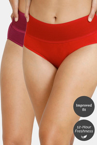 Buy Zivame (Pack of 2) Tummy Tucker Hipster High Rise Anti-Microbial Panty - Purple Red