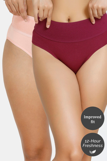 Zivame  Pack of 2  Tummy Tucker Hipster High Rise Anti Microbial Panty   Purple Potion Peach Pearl