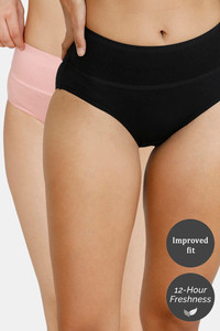 Buy Zivame Tummy Tucker Hipster High Rise Anti-Microbial Panty (Pack of 2) - Rose Tan Black