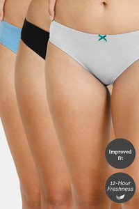 Buy Zivame Bikini Low Rise Anti-Microbial Panty (Pack of 3) - Anthracite Pacific Grey