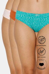 Buy Zivame Bikini Low Rise Full Coverage Anti-Microbial Panty (Pack of 3) - Ceramic Quartz Mango