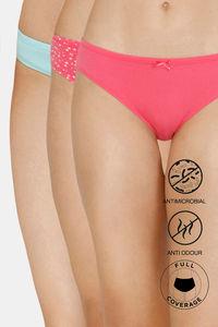 Buy Zivame Bikini Low Rise Full Coverage Anti-Microbial Panty (Pack of 3) - Fruit Blue Dove