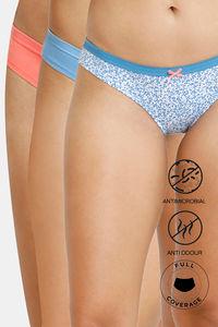 Buy Zivame Bikini Low Rise Anti-Microbial Panty (Pack of 3) - Peach Blue Ditsy