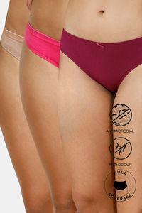 Buy Zivame Bikini Low Rise Full Coverage Anti-Microbial Panty (Pack of 3) - Purple Pink Roebuck
