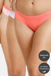Buy Zivame Bikini Low Rise Anti-Microbial Panty (Pack of 3) - Peach Ditsy Violet