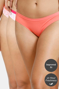 Buy Zivame Bikini Low Rise Anti-Microbial Panty (Pack of 3) - Peach Red Leaf Ditsy Peach
