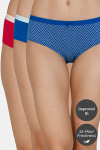Buy Zivame Hipster Low Rise Anti-Microbial Panty (Pack of 3) - Classic Blue Red