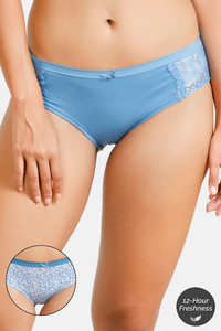 Buy Zivame Anti-Microbial Mid Rise Hipster Panty (Pack Of 2) - Blue Ditsy Blue