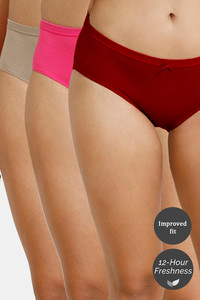 Buy Zivame Hipster Low Rise Anti-Microbial Panty (Pack of 3) - Cherry Pink Roebuck