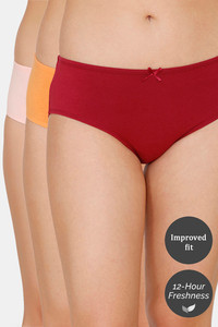 Buy Zivame (Pack of 3) Hipster Low Rise Anti-Microbial Panty - Pink Musk Red