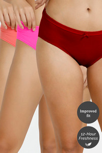 Buy Zivame Hipster Low Rise Anti-Microbial Panty (Pack of 3) - Pink Red Peach