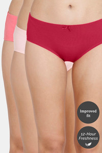 Buy Zivame (Pack of 3) Hipster Low Rise Anti-Microbial Panty - Pink Tea Red