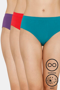 Buy Zivame (Pack of 3) Super Soft Hipster Mid Rise Panty - Blue Red Palace