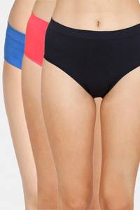 Buy Zivame (Pack of 3) Super Soft Hipster Mid Rise Panty - Classic Black Paradise Pink