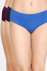 Buy Zivame (Pack of 3) Super Soft Hipster Mid Rise Panty - Classic Black Purple