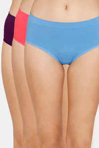 Buy Zivame (Pack of 3) Super Soft Hipster Mid Rise Panty - Pacific Paradise Pink Purple