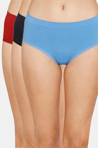 Buy Zivame (Pack of 3) Super Soft Hipster Mid Rise Panty - Tomato Pacific Black