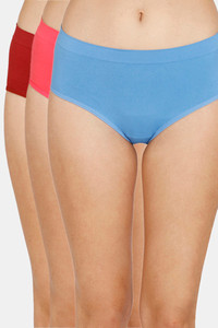 Buy Zivame (Pack of 3) Super Soft Hipster Mid Rise Panty - Tomato Pacific Paradise