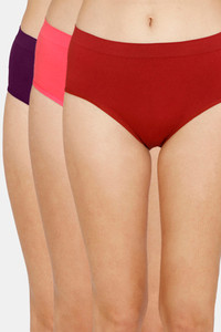 Buy Zivame (Pack of 3) Super Soft Hipster Mid Rise Panty - Tomato Purple Paradise