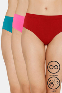 Buy Zivame (Pack of 3) Super Soft Hipster Mid Rise Panty - Tomato Rose Blue