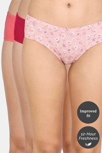 Buy Zivame Hipster Low Rise Panty (Pack of 3) - Beet Red Tea AOP