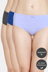 Buy Zivame Mid Rise Full Coverage Hipster Panty (Pack of 3) - Blue Depth Anthracite Sweet
