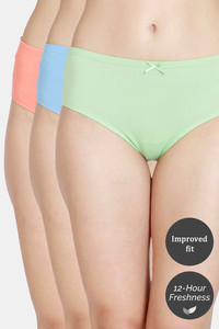 Buy Zivame Low Rise Full Coverage Hipster Panty (Pack of 3) - Green Alaskan Quartz