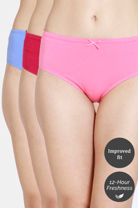Buy Zivame Low Rise Full Coverage Hipster Panty (Pack of 3) - Wood Pink Cerise