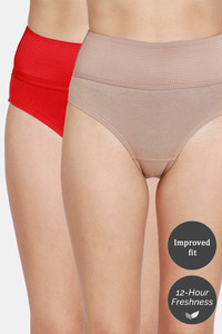 Buy Zivame Tummy Tucker Hipster High Rise Anti-Microbial Panty (Pack of 2) - Barbados Cherry Roebuck