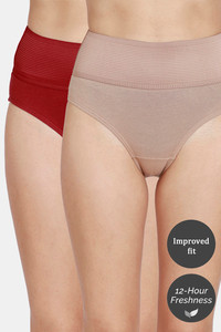 Buy Zivame Tummy Tucker Hipster High Rise Anti-Microbial Panty (Pack of 2) - Tomato Roebuck
