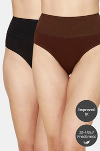 Buy Zivame Tummy Tucker Hipster High Rise Anti-Microbial Panty (Pack of 2) - Black Coffee