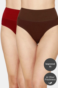 Buy Zivame Tummy Tucker Hipster High Rise Anti-Microbial Panty (Pack of 2) - Maroon Coffee