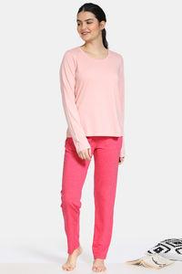 Buy Zivame Summer Blush Knit Cotton Blend Pyjama Set - Pink Peach